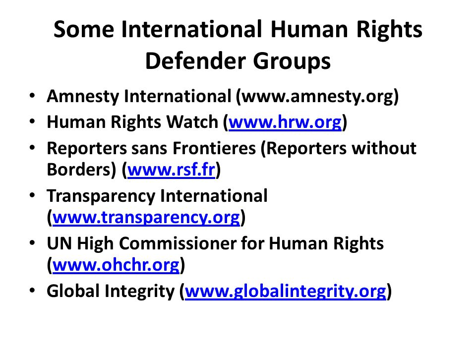 Some International Human Rights Defender Groups Amnesty International (www.amnesty.org) Human Rights Watch (www.hrw.org)www.hrw.org Reporters sans Frontieres (Reporters without Borders) (www.rsf.fr)www.rsf.fr Transparency International (www.transparency.org)www.transparency.org UN High Commissioner for Human Rights (www.ohchr.org)www.ohchr.org Global Integrity (www.globalintegrity.org)www.globalintegrity.org
