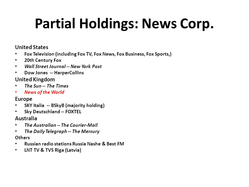 Partial Holdings: News Corp.