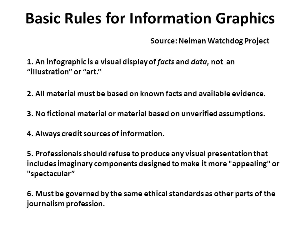 Basic Rules for Information Graphics Source: Neiman Watchdog Project 1.