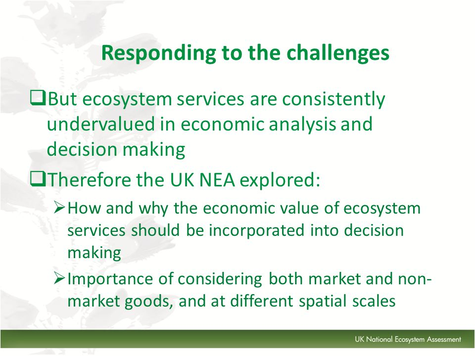  But ecosystem services are consistently undervalued in economic analysis and decision making  Therefore the UK NEA explored:  How and why the economic value of ecosystem services should be incorporated into decision making  Importance of considering both market and non- market goods, and at different spatial scales Responding to the challenges