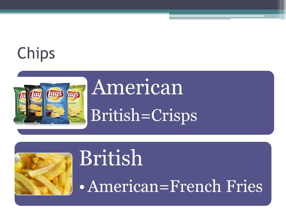 Chips American British=Crisps British American=French Fries