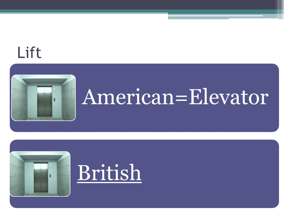Lift American=Elevator British