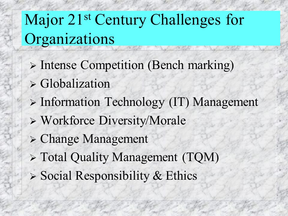 Major 21 st Century Challenges for Organizations  Intense Competition (Bench marking)  Globalization  Information Technology (IT) Management  Work