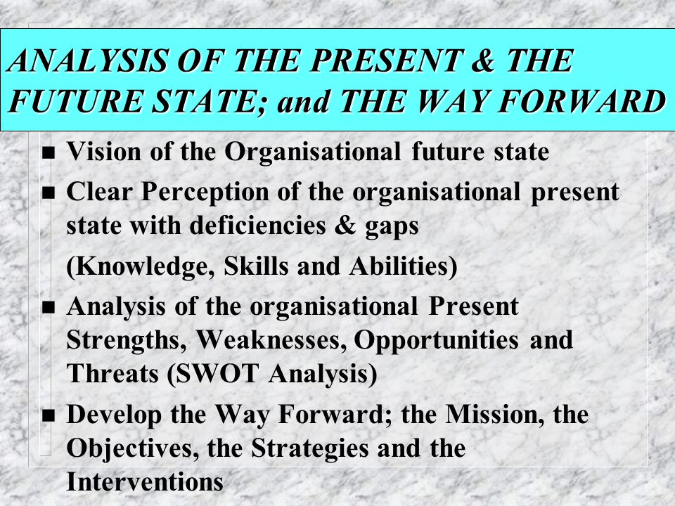 ANALYSIS OF THE PRESENT & THE FUTURE STATE; and THE WAY FORWARD n Vision of the Organisational future state n Clear Perception of the organisational p