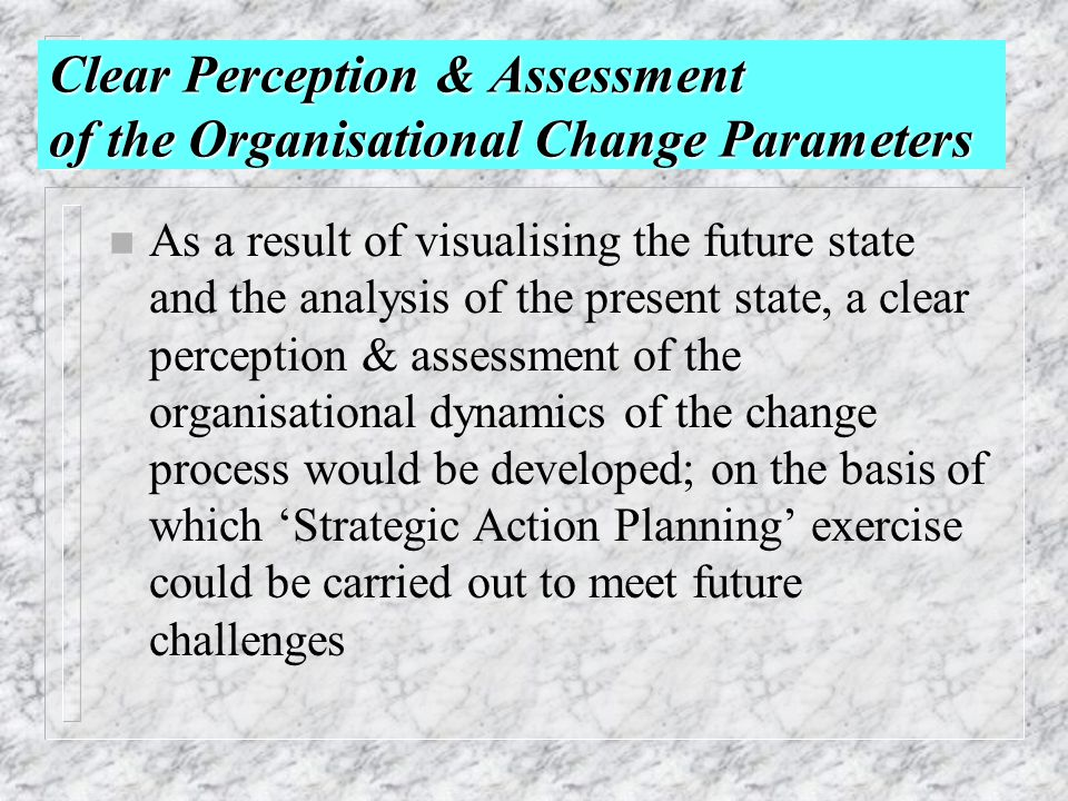 Clear Perception & Assessment of the Organisational Change Parameters n As a result of visualising the future state and the analysis of the present st