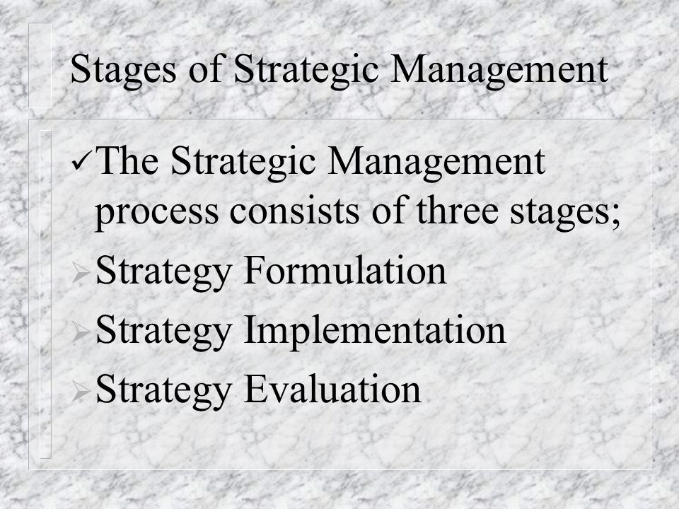 Stages of Strategic Management The Strategic Management process consists of three stages;  Strategy Formulation  Strategy Implementation  Strategy