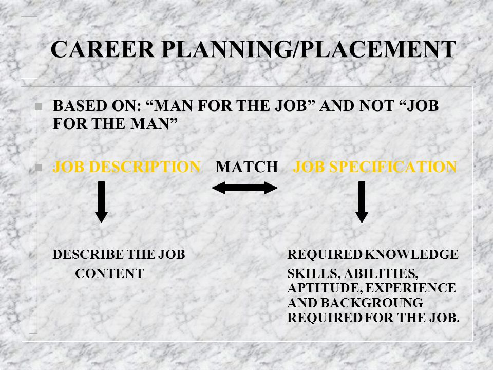 """CAREER PLANNING/PLACEMENT n BASED ON: """"MAN FOR THE JOB"""" AND NOT """"JOB FOR THE MAN"""" n JOB DESCRIPTION MATCH JOB SPECIFICATION DESCRIBE THE JOB REQUIRED"""