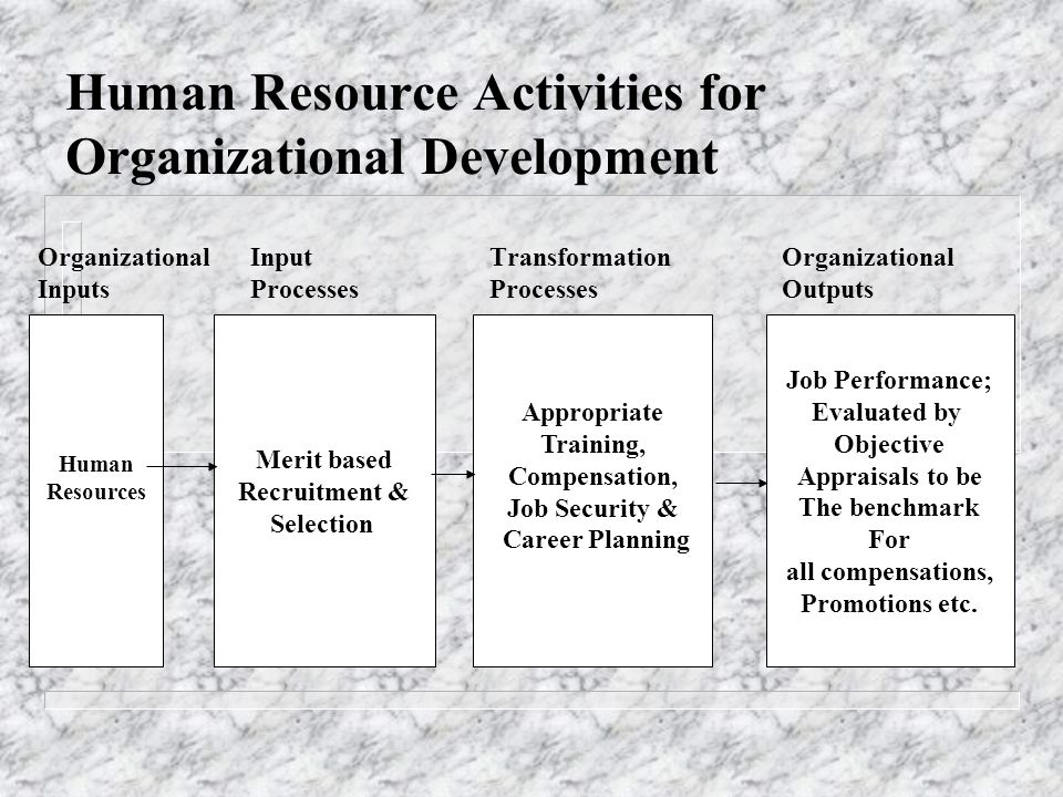 Human Resource Activities for Organizational Development OrganizationalInput TransformationOrganizational Inputs Processes ProcessesOutputs Human Reso
