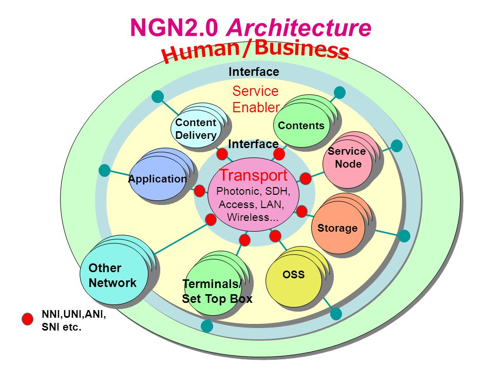 Service Enabler Interface NGN2.0 Architecture Transport Photonic, SDH, Access, LAN, Wireless...