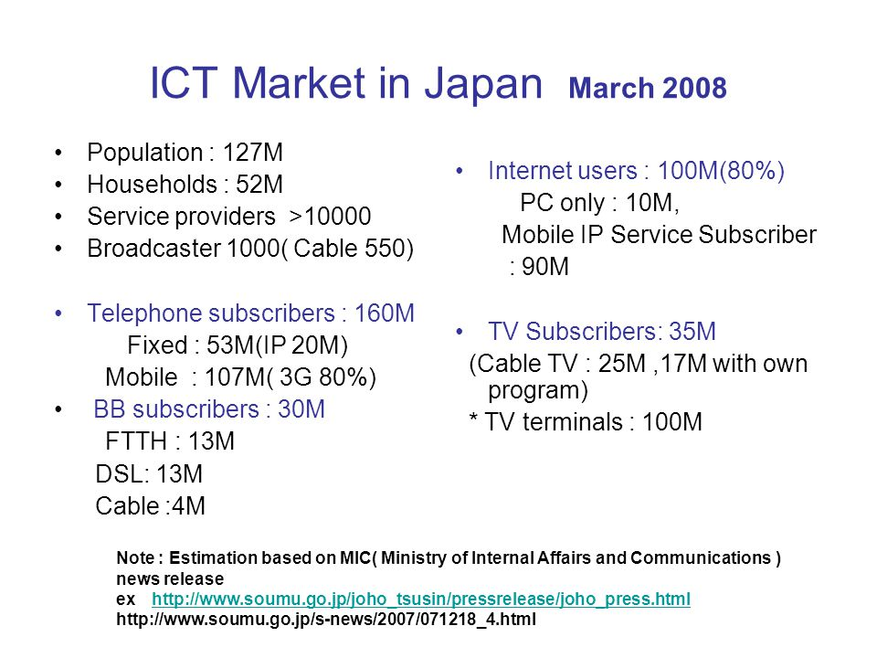 ICT Market in Japan March 2008 Population : 127M Households : 52M Service providers >10000 Broadcaster 1000( Cable 550) Telephone subscribers : 160M Fixed : 53M(IP 20M) Mobile : 107M( 3G 80%) BB subscribers : 30M FTTH : 13M DSL: 13M Cable :4M Internet users : 100M(80%) PC only : 10M, Mobile IP Service Subscriber : 90M TV Subscribers: 35M (Cable TV : 25M,17M with own program) * TV terminals : 100M.