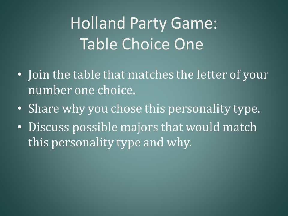 Holland Party Game: Table Choice One Join the table that matches the letter of your number one choice.