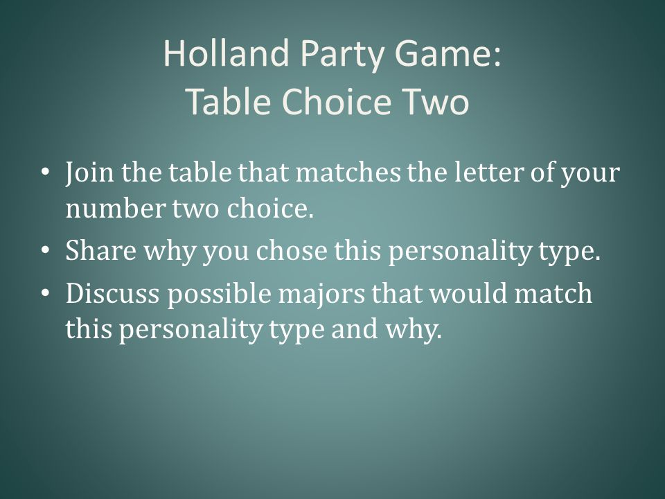 Holland Party Game: Table Choice Two Join the table that matches the letter of your number two choice.