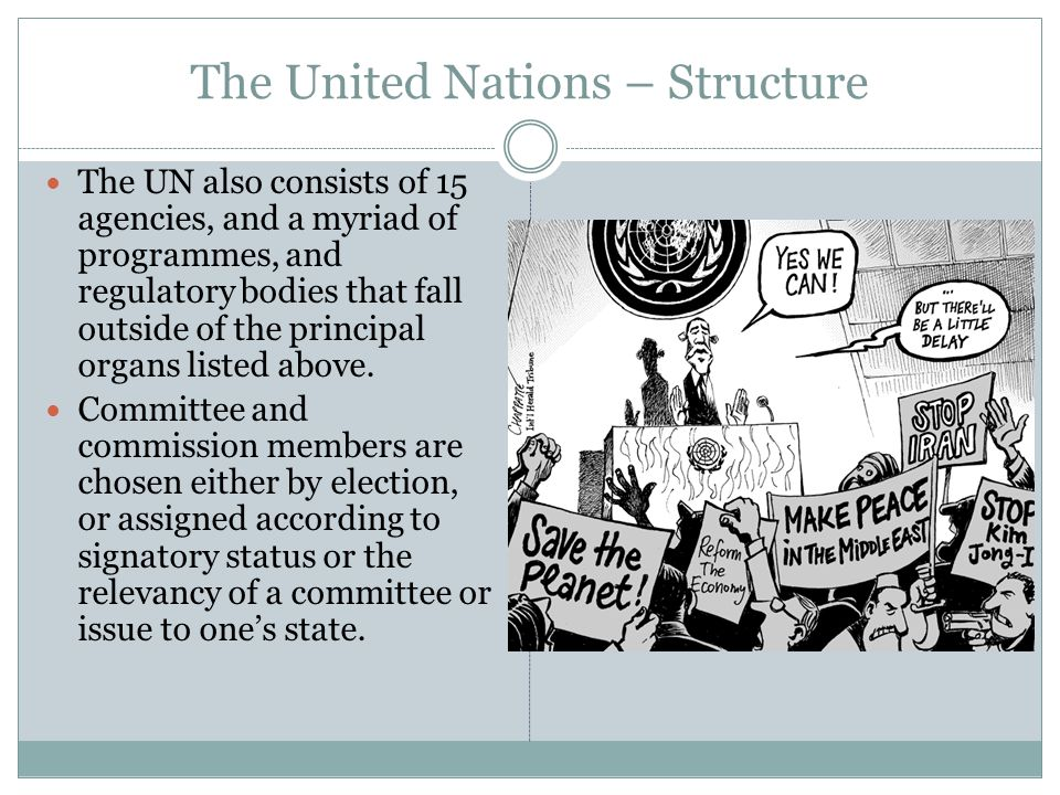 The United Nations – Structure The UN also consists of 15 agencies, and a myriad of programmes, and regulatory bodies that fall outside of the principal organs listed above.