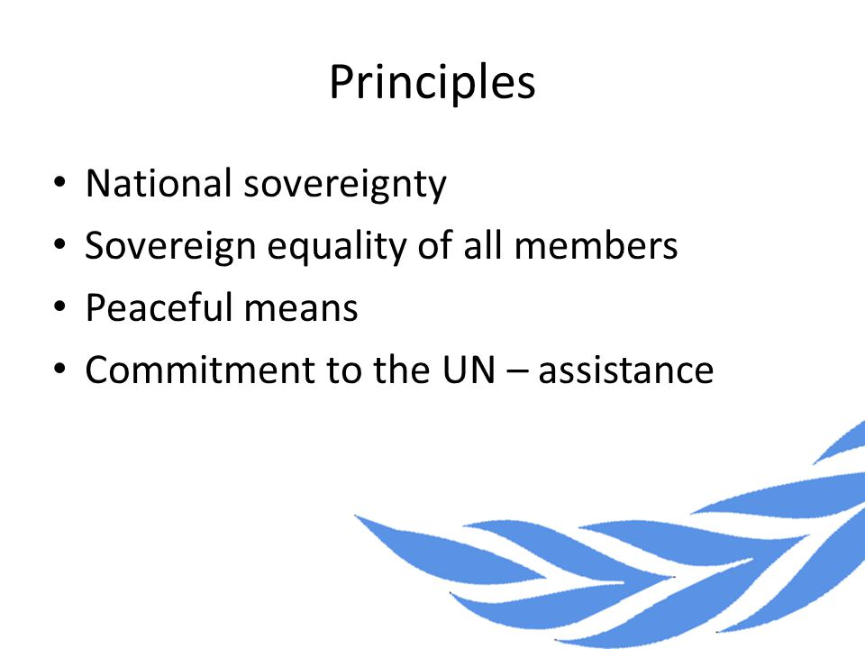 Principles National sovereignty Sovereign equality of all members Peaceful means Commitment to the UN – assistance