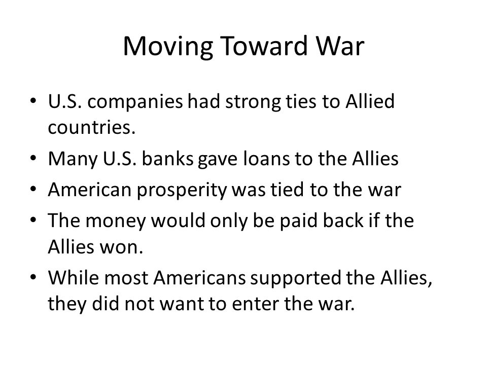US & the War 1914-1917: America remained neutral Why? George Washington!!!