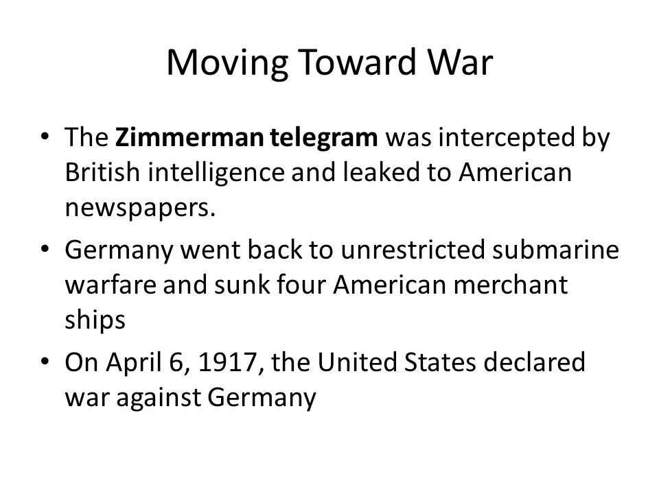 Moving Toward War America warned Germany to stop the U-boat attacks. Germany did not want America in the war so they signed a pledge to stop sinking m