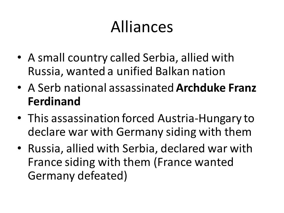 Alliances Great Britain remained neutral until Germany started to build up its navy Great Britain loosely allied with France and Russia forming the Tr