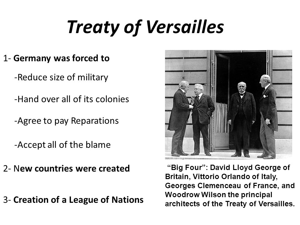 A Flawed Peace The Treaty of Versailles stripped Germany of its armed forces It forced Germany to pay reparations, or war damages to the Allies. The T