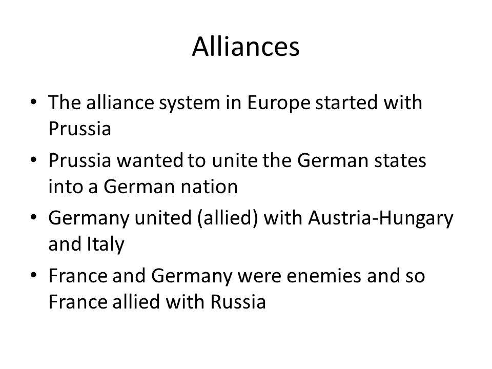 World War I The war began in Europe in 1914: Central Powers Germany and Austria- Hungary Allies Britain, France, and Russia.
