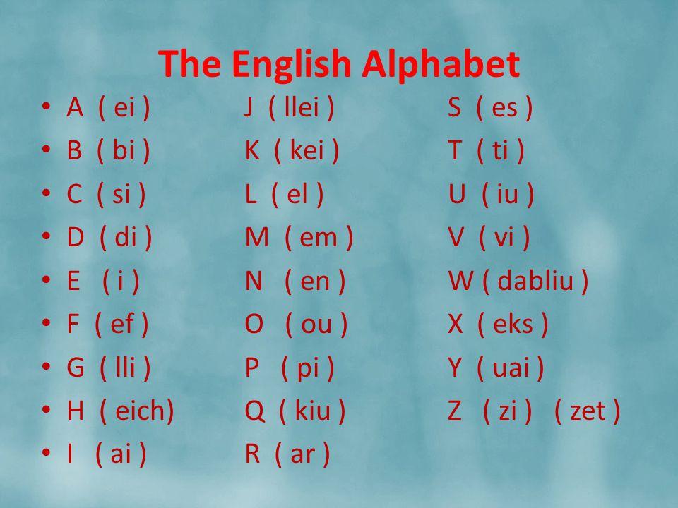 The English Alphabet A ( ei )J ( llei )S ( es ) B ( bi )K ( kei )T ( ti ) C ( si )L ( el )U ( iu ) D ( di )M ( em )V ( vi ) E ( i )N ( en )W ( dabliu ) F ( ef )O ( ou )X ( eks ) G ( lli )P ( pi )Y ( uai ) H ( eich)Q ( kiu )Z ( zi ) ( zet ) I ( ai )R ( ar )