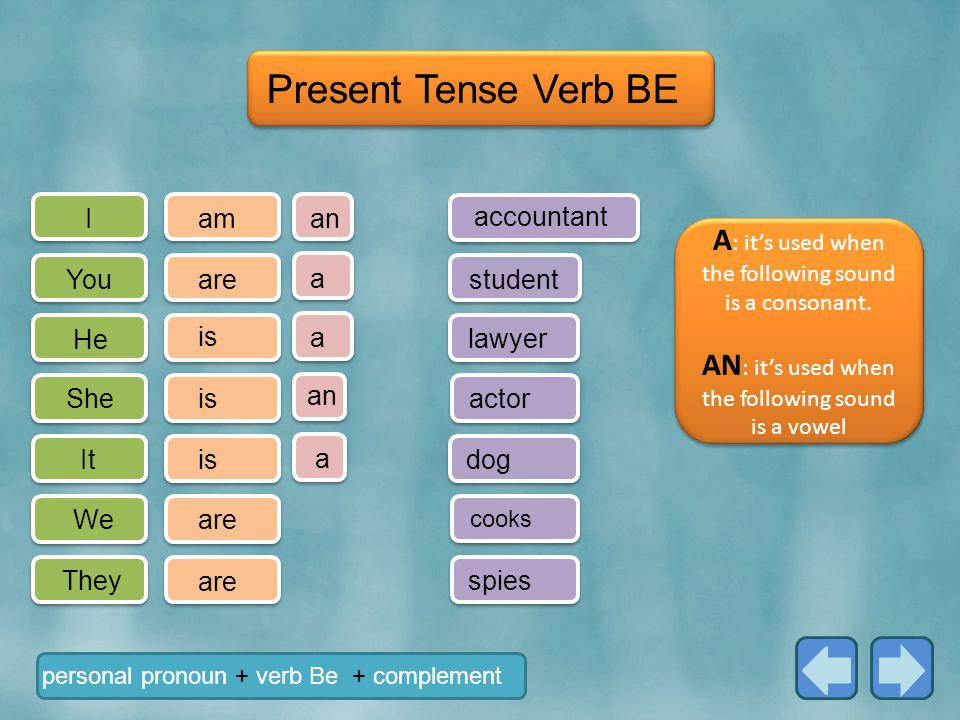 I You He She It We They a a am are is are personal pronoun + verb Be + complement Present Tense Verb BE student dog cooks spies an accountant an actor a lawyer A : it's used when the following sound is a consonant.