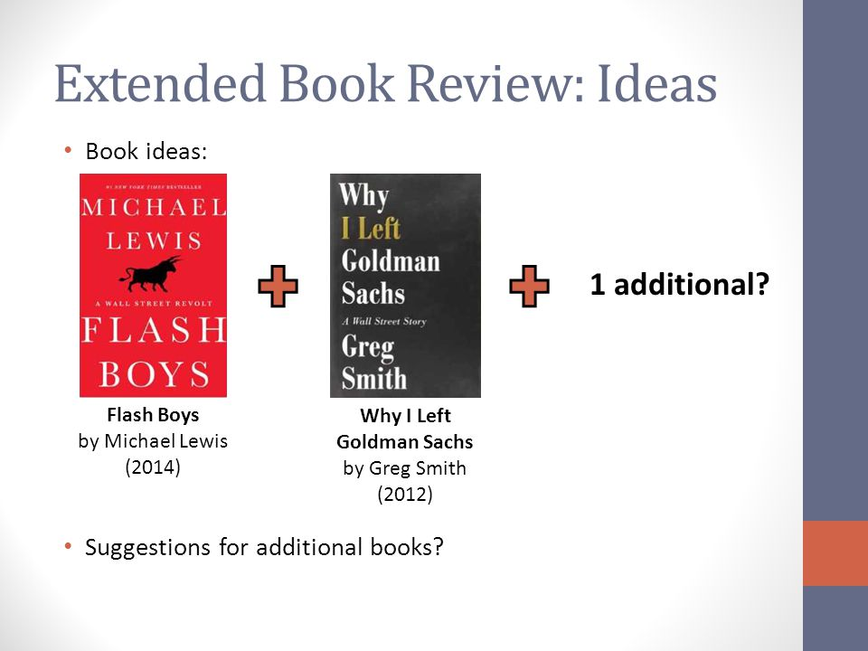 Extended Book Review: Ideas Book ideas: Suggestions for additional books.