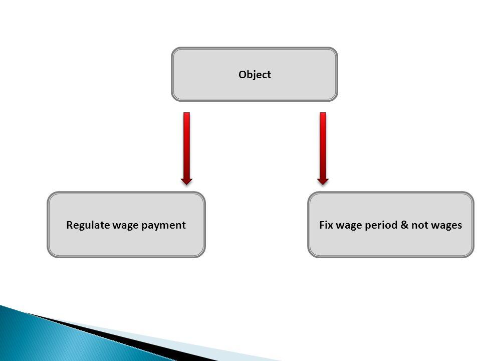 Object Regulate wage paymentFix wage period & not wages