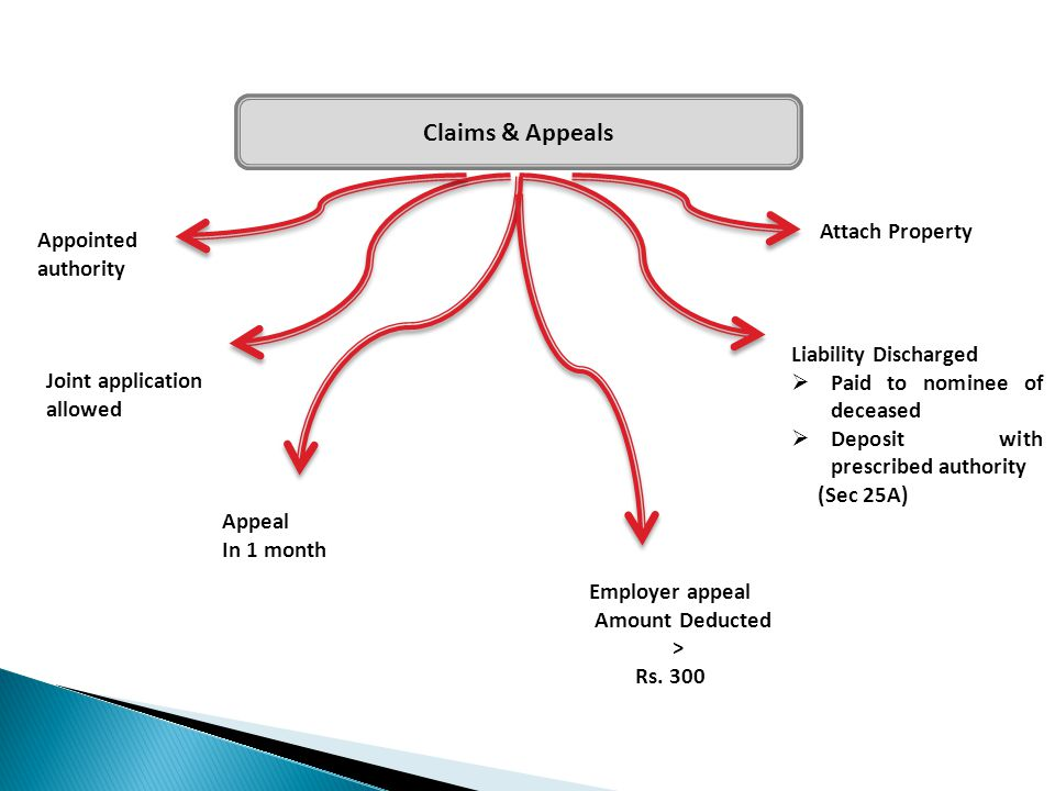Claims & Appeals Appointed authority Joint application allowed Appeal In 1 month Employer appeal Amount Deducted > Rs. 300 Attach Property Liability D