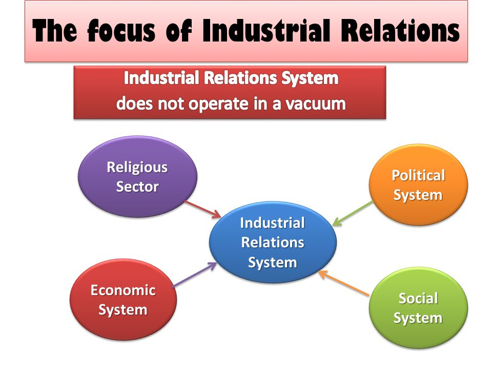 The focus of Industrial Relations The focus of Industrial Relations Industrial Relations System Political System Social System Economic System Religio