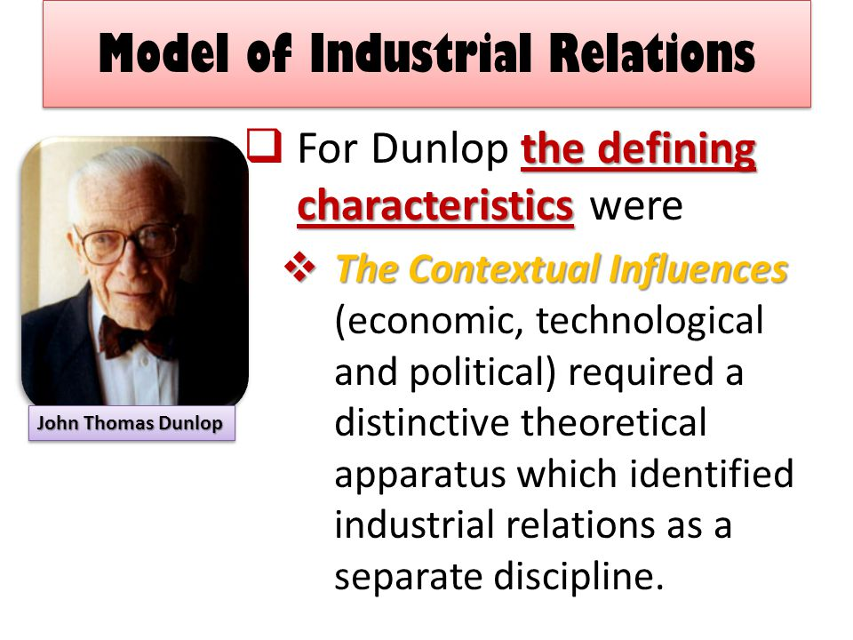 Model of Industrial Relations the defining characteristics  For Dunlop the defining characteristics were  The Contextual Influences  The Contextual Influences (economic, technological and political) required a distinctive theoretical apparatus which identified industrial relations as a separate discipline.