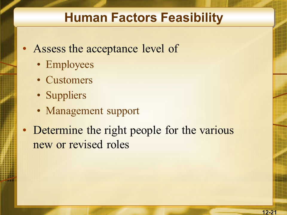 12-21 Human Factors Feasibility Assess the acceptance level of Employees Customers Suppliers Management support Determine the right people for the various new or revised roles