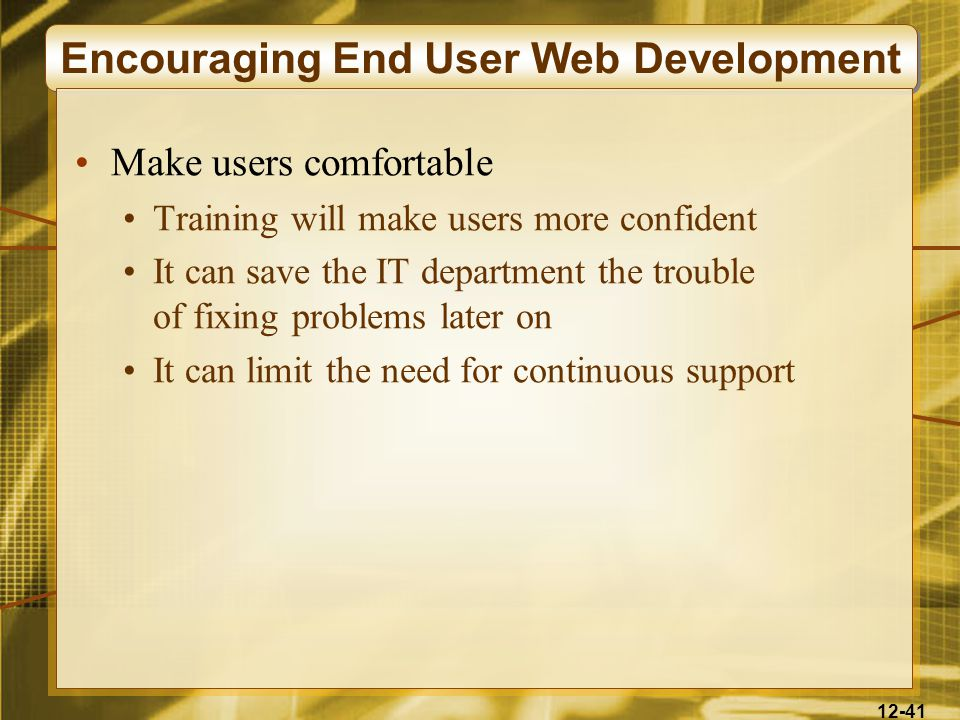 12-41 Encouraging End User Web Development Make users comfortable Training will make users more confident It can save the IT department the trouble of fixing problems later on It can limit the need for continuous support