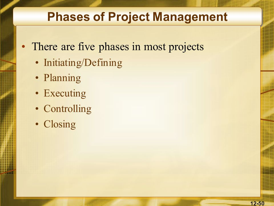 12-50 Phases of Project Management There are five phases in most projects Initiating/Defining Planning Executing Controlling Closing