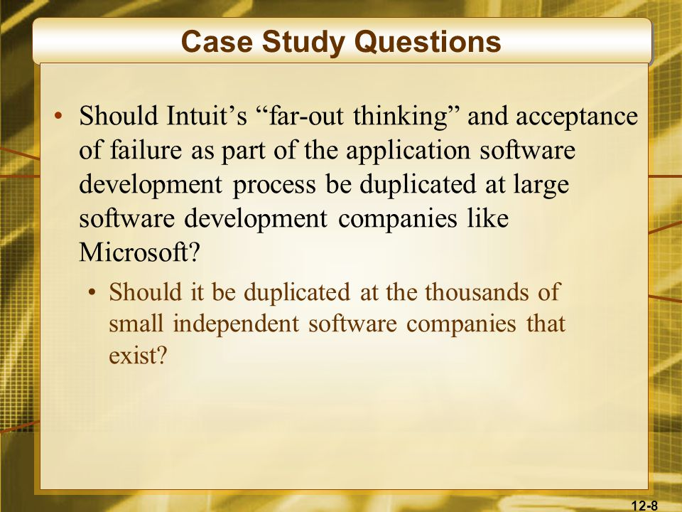 12-79 Case 4: In-House Development The do-it-yourself approach isn't cheap High salaries for developers and IT managers Dozens or hundreds of personnel needed Before, computer hardware dictated the choice of operating systems and development software Developing in C++ costs half as much as developing in Cobol Newer packages unhitch programmers from mainframes and proprietary platforms