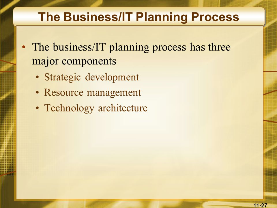 11-27 The Business/IT Planning Process The business/IT planning process has three major components Strategic development Resource management Technolog