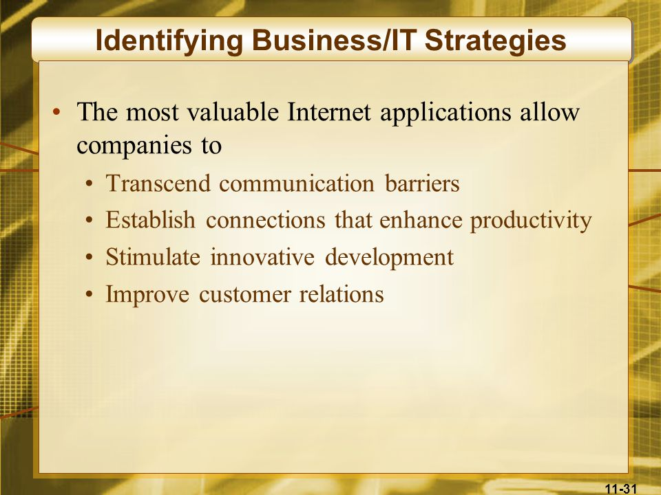 11-31 Identifying Business/IT Strategies The most valuable Internet applications allow companies to Transcend communication barriers Establish connect