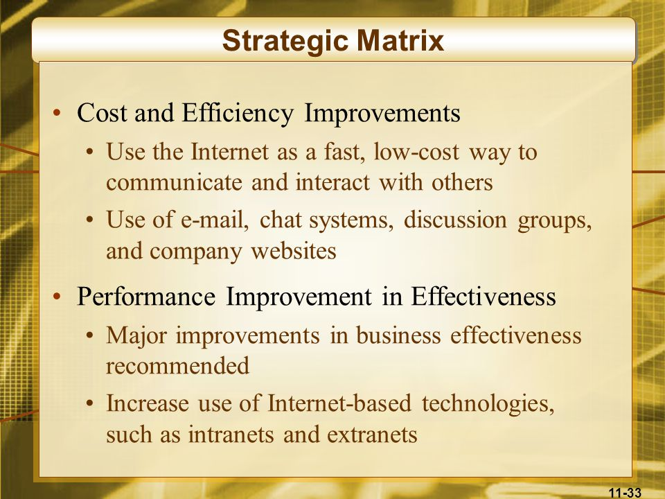 11-33 Strategic Matrix Cost and Efficiency Improvements Use the Internet as a fast, low-cost way to communicate and interact with others Use of e-mail
