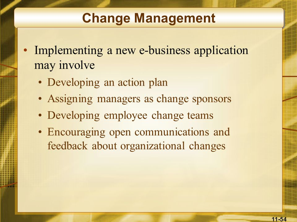 11-54 Change Management Implementing a new e-business application may involve Developing an action plan Assigning managers as change sponsors Developi