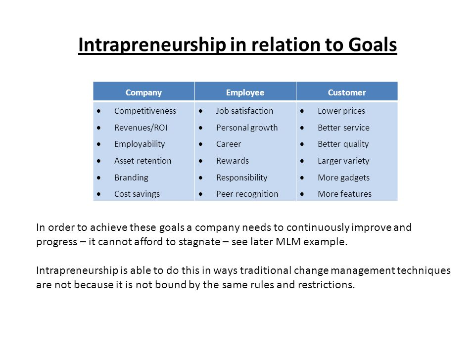 Intrapreneurship in relation to Goals CompanyEmployeeCustomer  Competitiveness  Revenues/ROI  Employability  Asset retention  Branding  Cost savings  Job satisfaction  Personal growth  Career  Rewards  Responsibility  Peer recognition  Lower prices  Better service  Better quality  Larger variety  More gadgets  More features In order to achieve these goals a company needs to continuously improve and progress – it cannot afford to stagnate – see later MLM example.