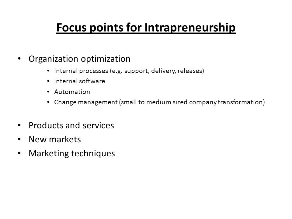 Focus points for Intrapreneurship Organization optimization Internal processes (e.g.