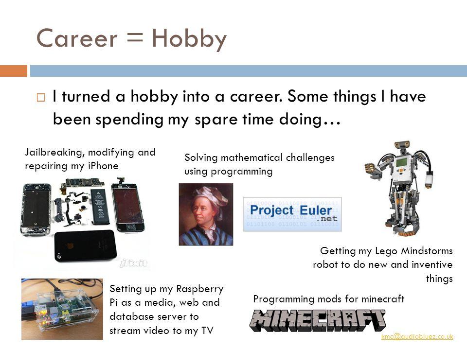kmc@audiobluez.co.uk Career = Hobby  I turned a hobby into a career.