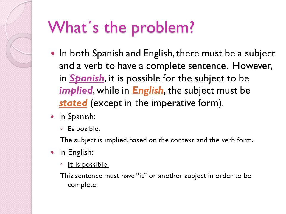 What´s the problem? In both Spanish and English, there must be a subject and a verb to have a complete sentence. However, in Spanish, it is possible f