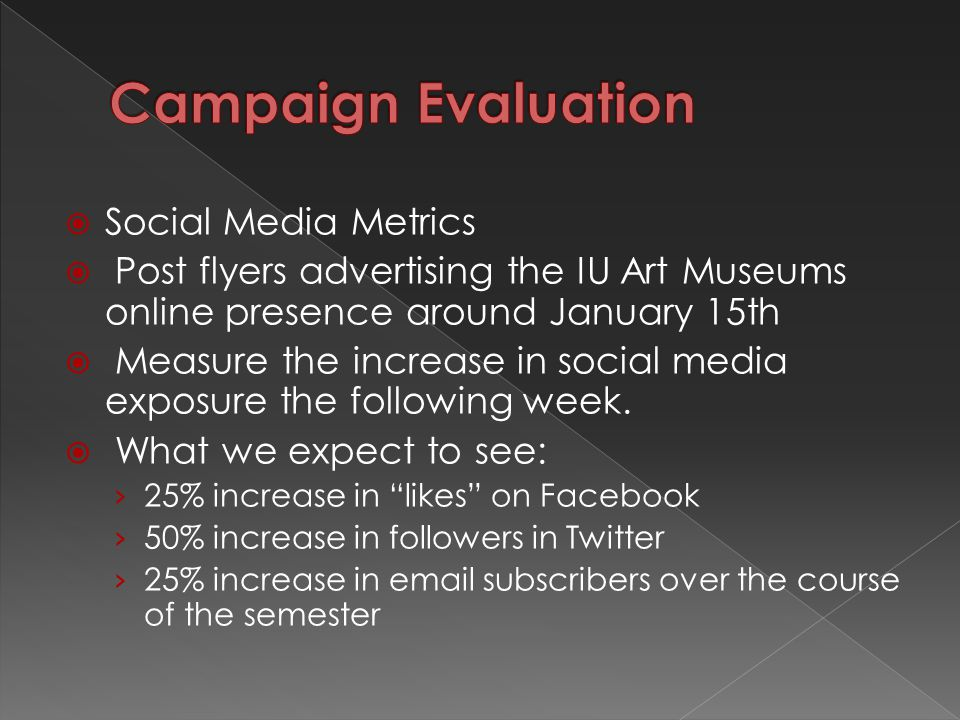  Social Media Metrics  Post flyers advertising the IU Art Museums online presence around January 15th  Measure the increase in social media exposure the following week.