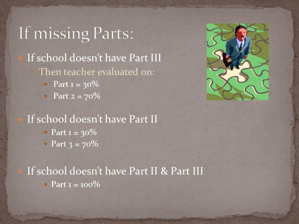 If school doesn't have Part III Then teacher evaluated on: Part 1 = 30% Part 2 = 70% If school doesn't have Part II Part 1 = 30% Part 3 = 70% If schoo