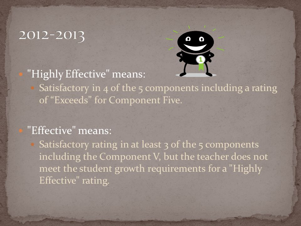 Highly Effective means: Satisfactory in 4 of the 5 components including a rating of Exceeds for Component Five.