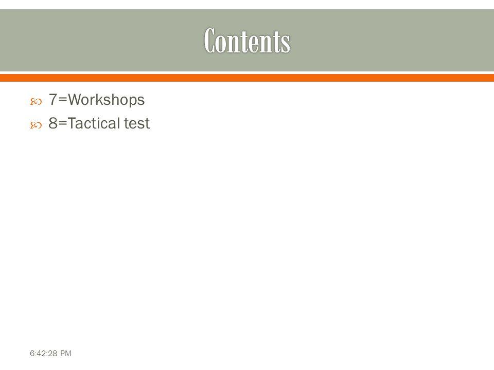  7=Workshops  8=Tactical test 6:42:28 PM