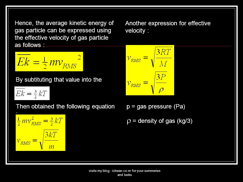 visite my blog : ichwan.co.nr for your summeries and tasks Hence, the average kinetic energy of gas particle can be expressed using the effective velocity of gas particle as follows : By subtituting that value into the Then obtained the following equation : Another expression for effective velocity : p = gas pressure (Pa)  = density of gas (kg/3)