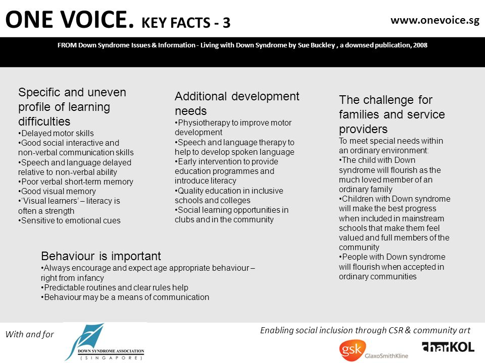 ONE VOICE. KEY FACTS - 3 FROM Down Syndrome Issues & Information - Living with Down Syndrome by Sue Buckley, a downsed publication, 2008 Enabling soci