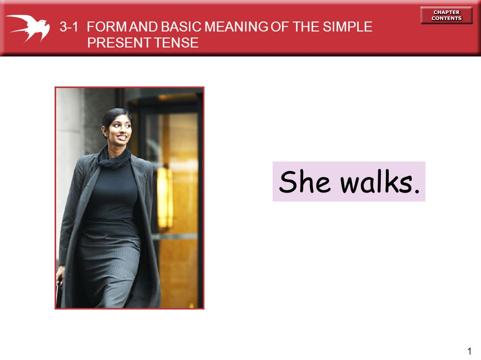 1 She walks. 3-1 FORM AND BASIC MEANING OF THE SIMPLE PRESENT TENSE