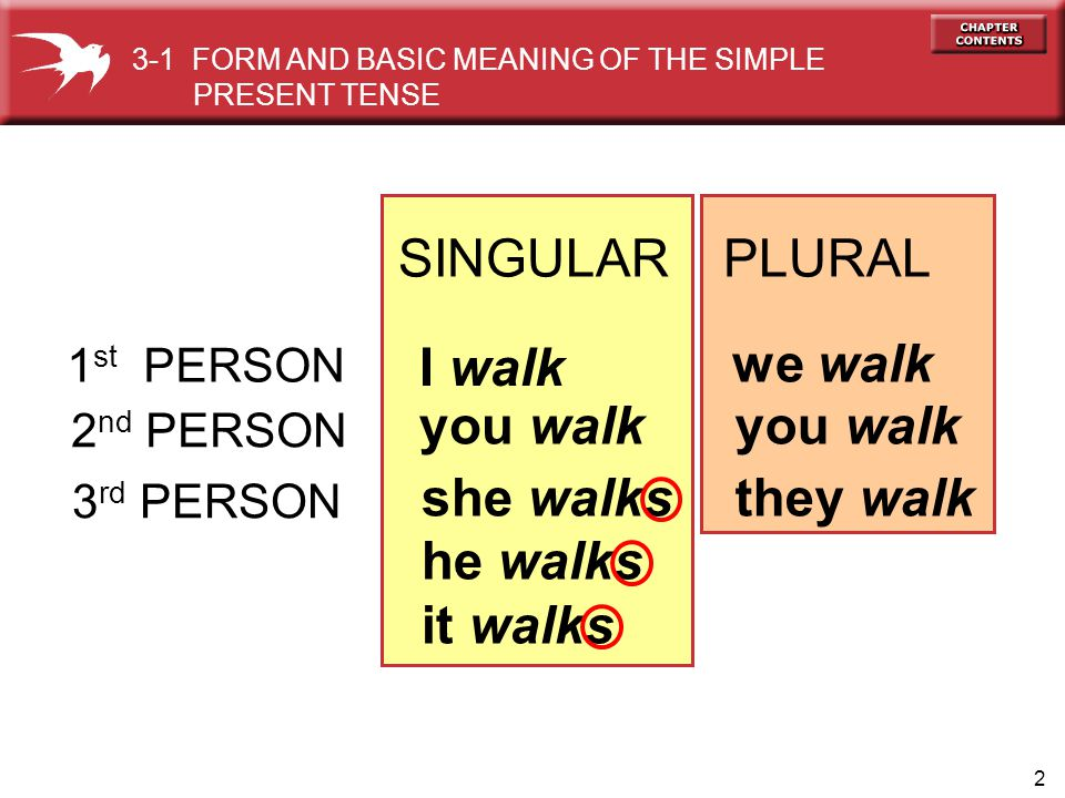 2 SINGULAR PLURAL 1 st PERSON I walk we walk 2 nd PERSON you walk she walks he walks it walks they walk 3-1 FORM AND BASIC MEANING OF THE SIMPLE PRESENT TENSE 3 rd PERSON